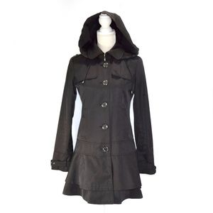 GUESS Black Detachable Hood Fit /Flair Trench Coat